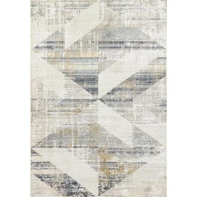 Quartz Ivory/Slate 5 ft. 3 in. x 7 ft. 7 in. Transitional Polyester Area Rug