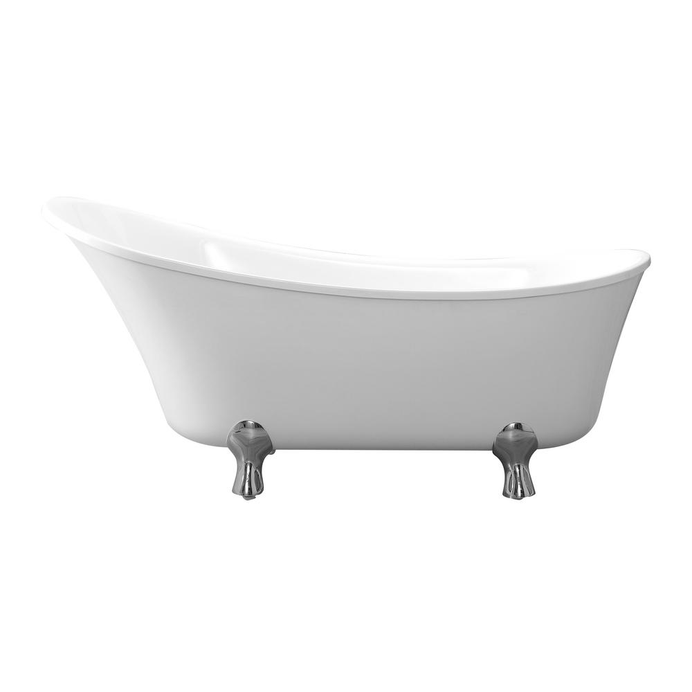 Cahaba Pearl 69 in. Acrylic Clawfoot Non Air Bath Bathtub in White ...