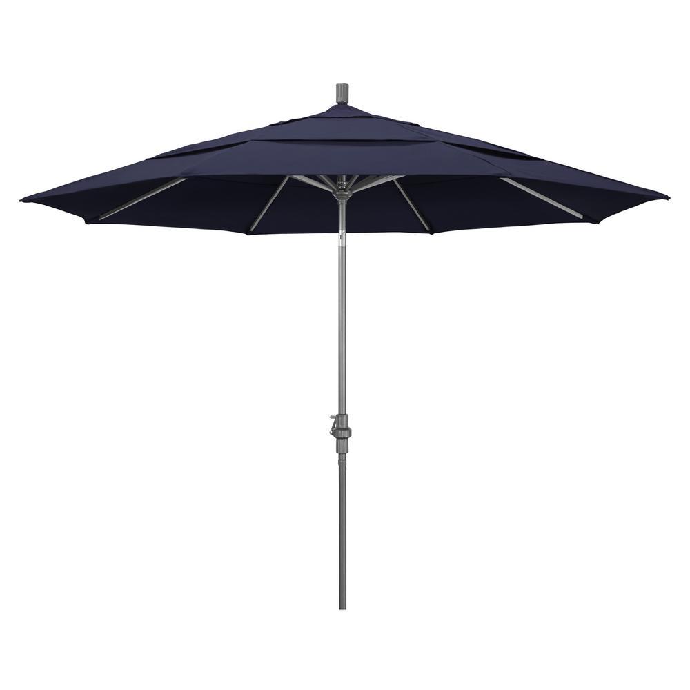 11 ft. Hammertone Grey Aluminum Market Patio Umbrella with Crank Lift in Navy Blue Olefin