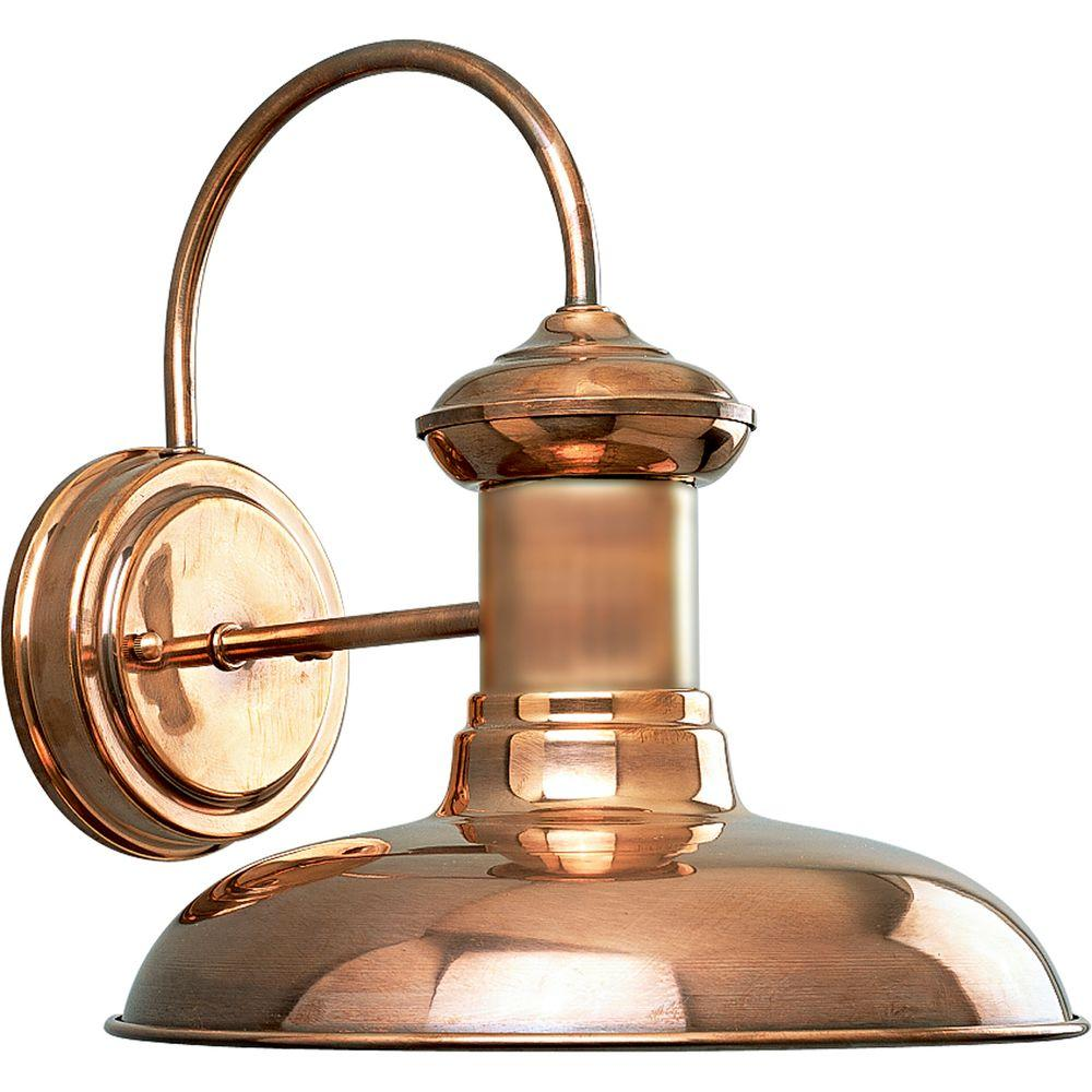 Progress Lighting Brookside Collection 1 Light Copper Outdoor Wall Lantern