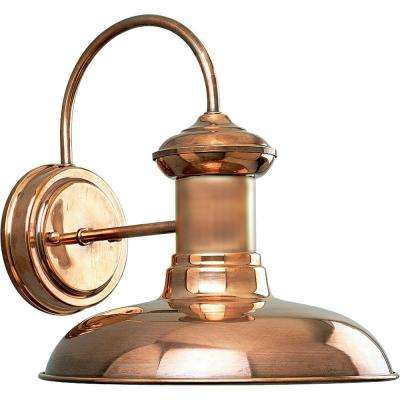 Copper outdoor wall mounted lighting outdoor lighting the home brookside collection 1 light copper outdoor wall lantern aloadofball Image collections