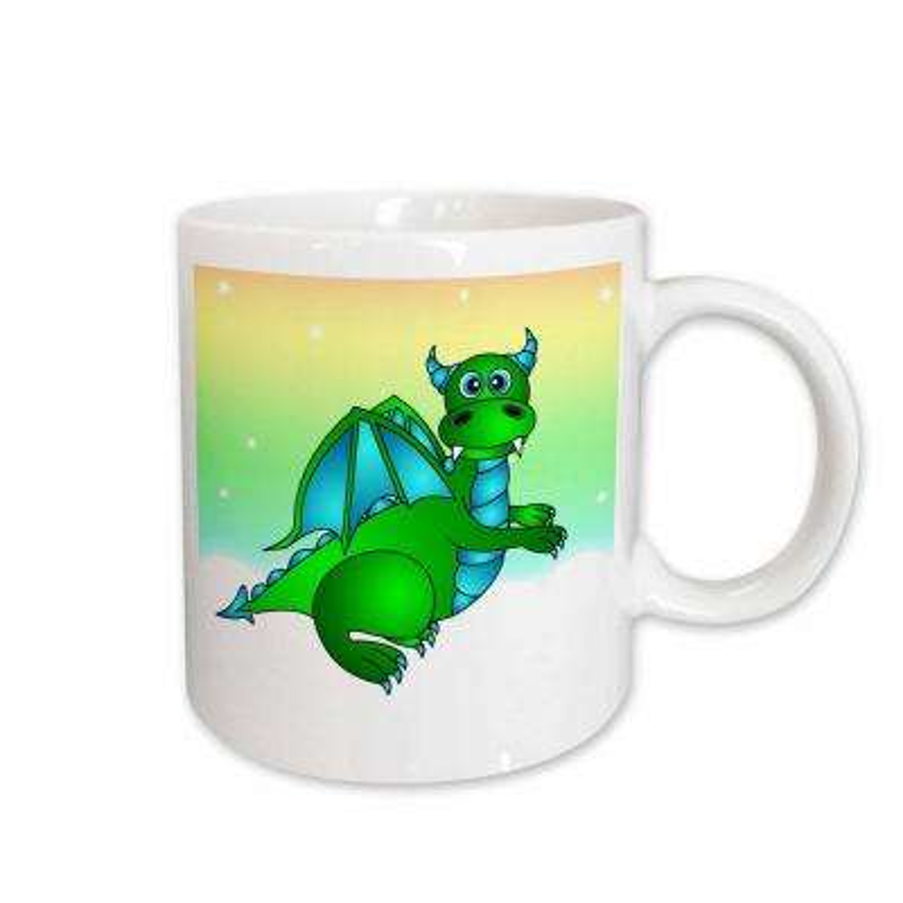 Janna Salak Designs Dragons 11 oz. White Ceramic Green Dragon Twilight Flight Mug
