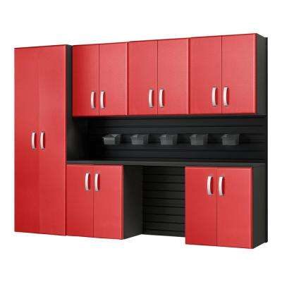 Modular Wall Mounted Garage Cabinet Storage Set With Accessories In Black Red Carbon Fiber