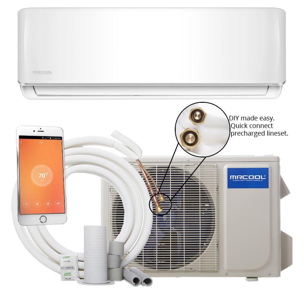 mrcool diy 18 000 btu 1 5 ton ductless mini split air conditioner and heat pump 230v 60hz diy. Black Bedroom Furniture Sets. Home Design Ideas