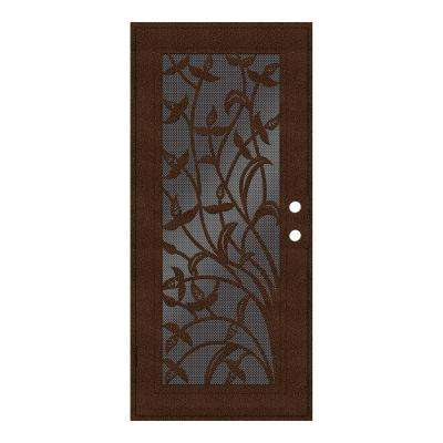 32 in. x 80 in. Yale Copperclad Left-Hand Surface Mount Security Door with Black Perforated Metal Screen
