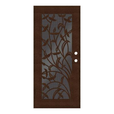 36 in. x 80 in. Yale Copperclad Left-Hand Surface Mount Security Door with Black Perforated Metal Screen