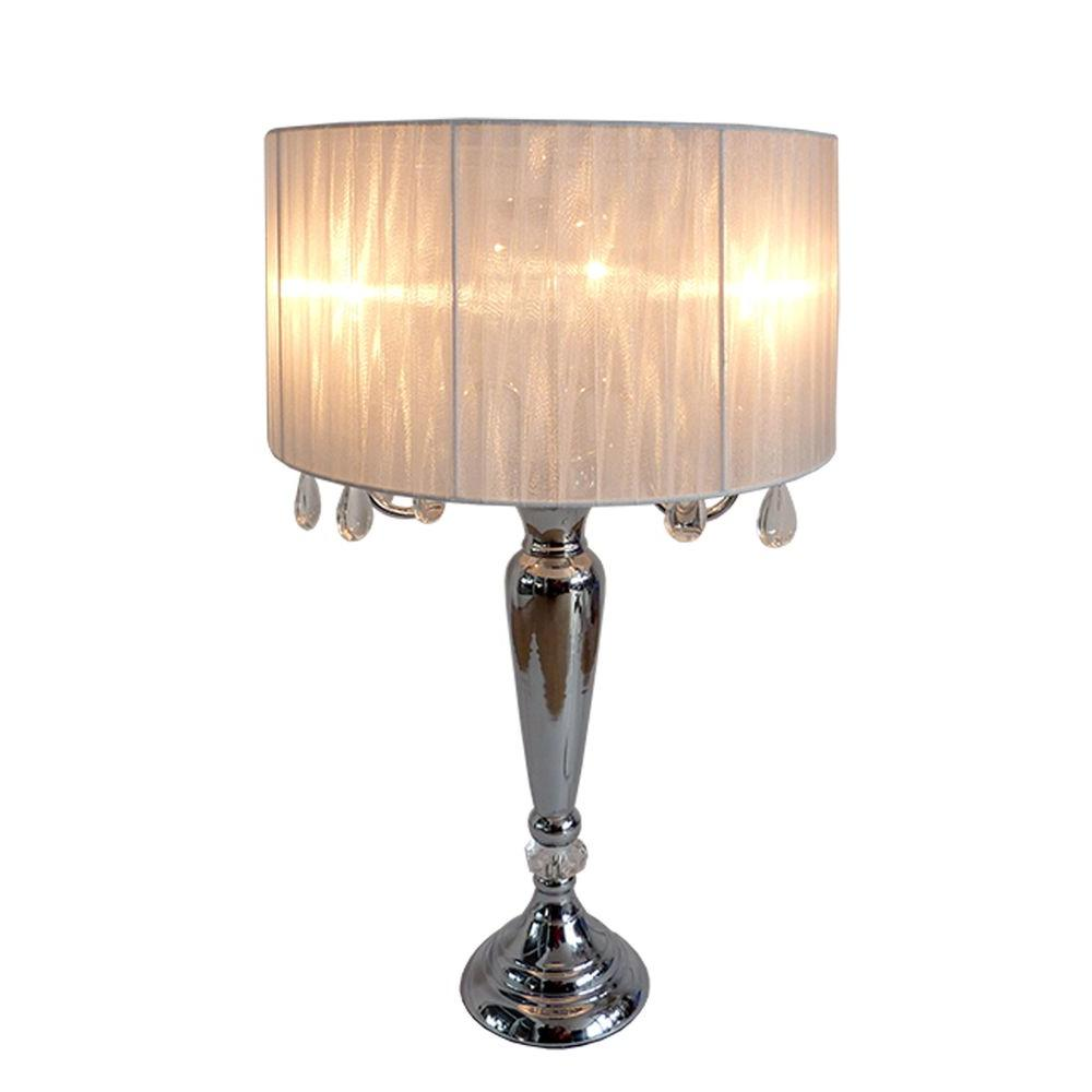 Elegant Designs Crystal Palace 27 In Trendy White Sheer Shade Chrome Table Lamp With Hanging Crystals