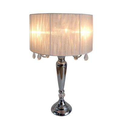 Crystal Palace 27 in. Trendy Romantic White Sheer Shade Chrome Table Lamp with Hanging Crystals