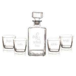 Oh What Fun 3.5 inch x 9 inch Clear Glass Christmas Decanter Set by