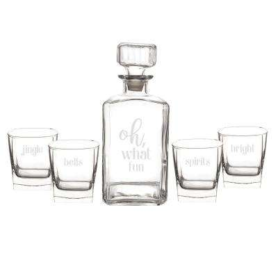 Oh What Fun 3.5 in. x 9 in. Clear Glass Christmas Decanter Set