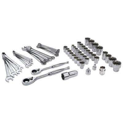 3/8 in. and 1/2 in. Universal Pass-Thru Ratchet and Socket Set (54-Piece)