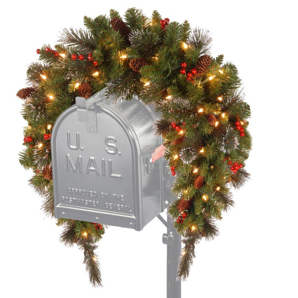 national tree company 3 ft battery operated crestwood spruce artificial mailbox swag with 50 clear