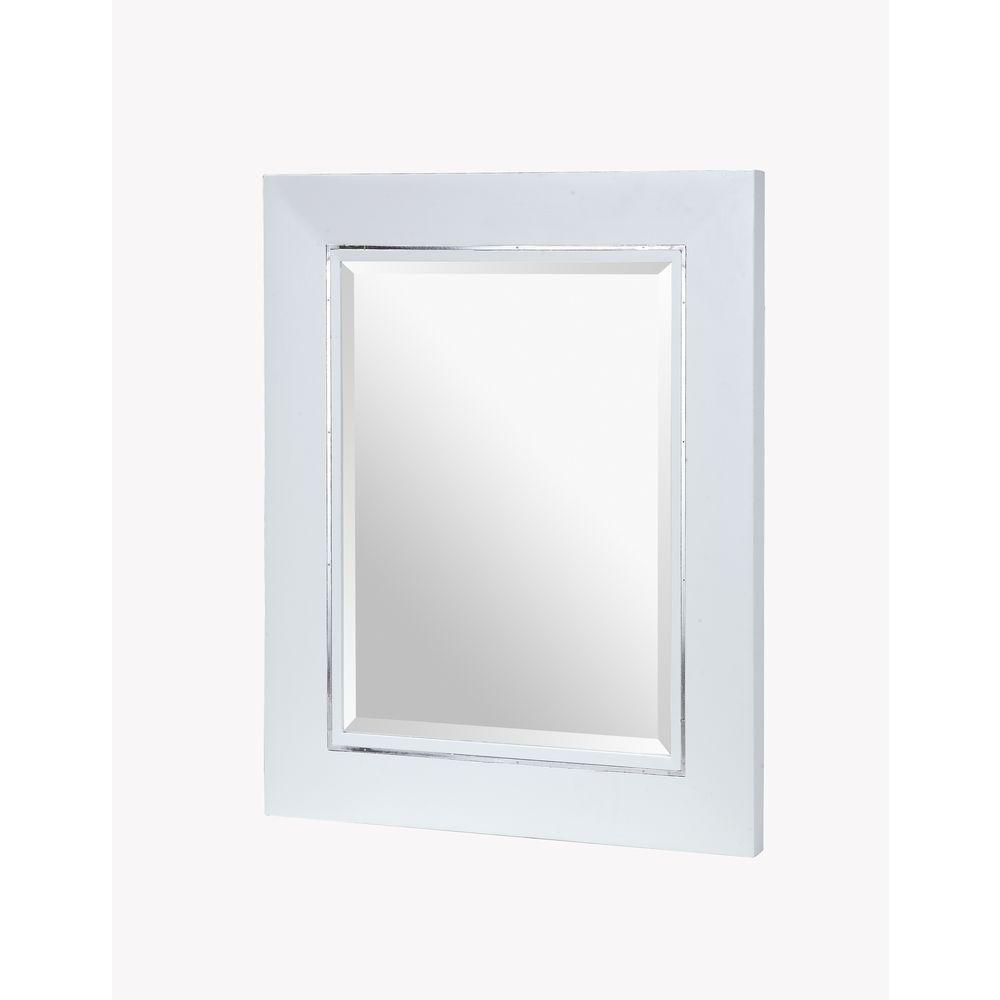 RYVYR Manhattan 30 in. x 25 in. Framed Wall Mirror in White