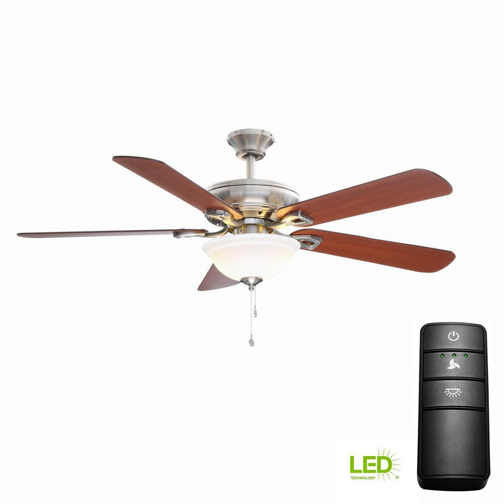 hampton bay rothley 52 in led brushed nickel ceiling fan with light kit and remote control. Black Bedroom Furniture Sets. Home Design Ideas