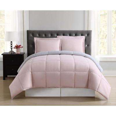 Everyday Blush and Silver Grey Reversible Full/Queen Comforter Set