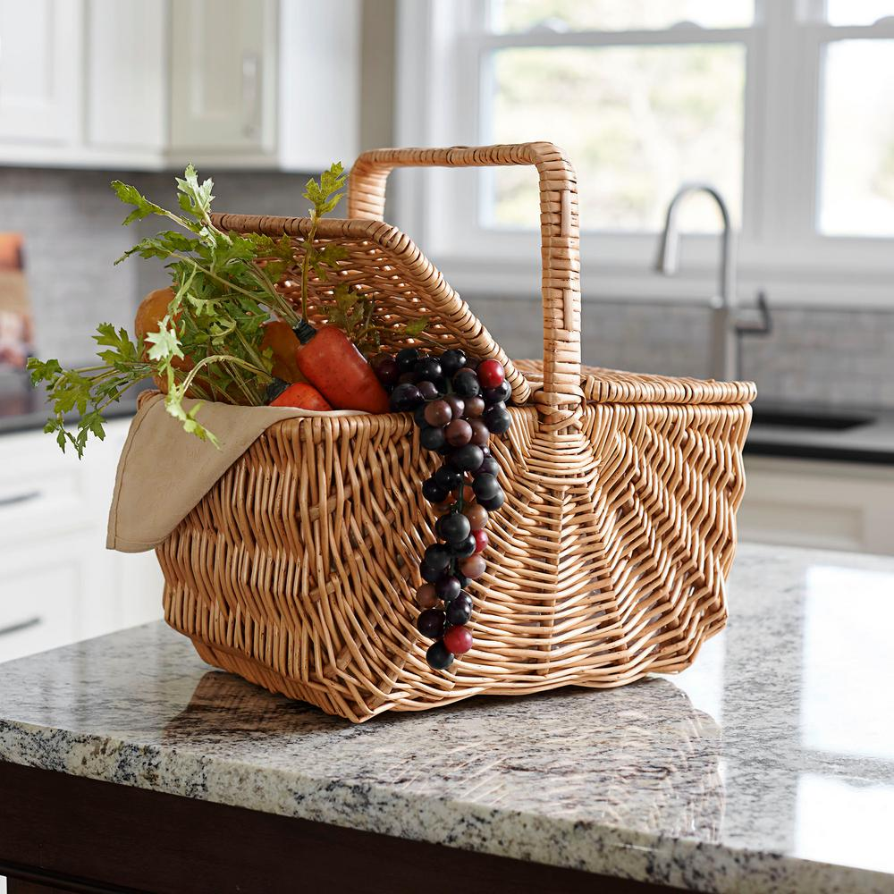 Household Essentials Willow Market Basket/W Lid and Singl...