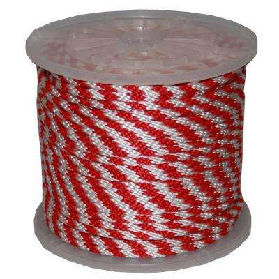 5/8 in. x 200 ft. Solid Braid Multi-Filament Polypropylene Derby Rope in Red and White
