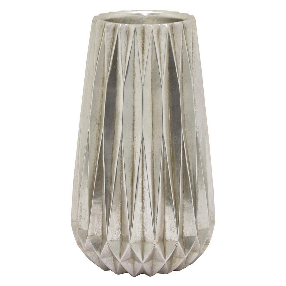 19.5 in. Silver Resin Vase