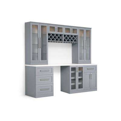 Home Bar 8-Piece Gray Shaker Style Bar Cabinet