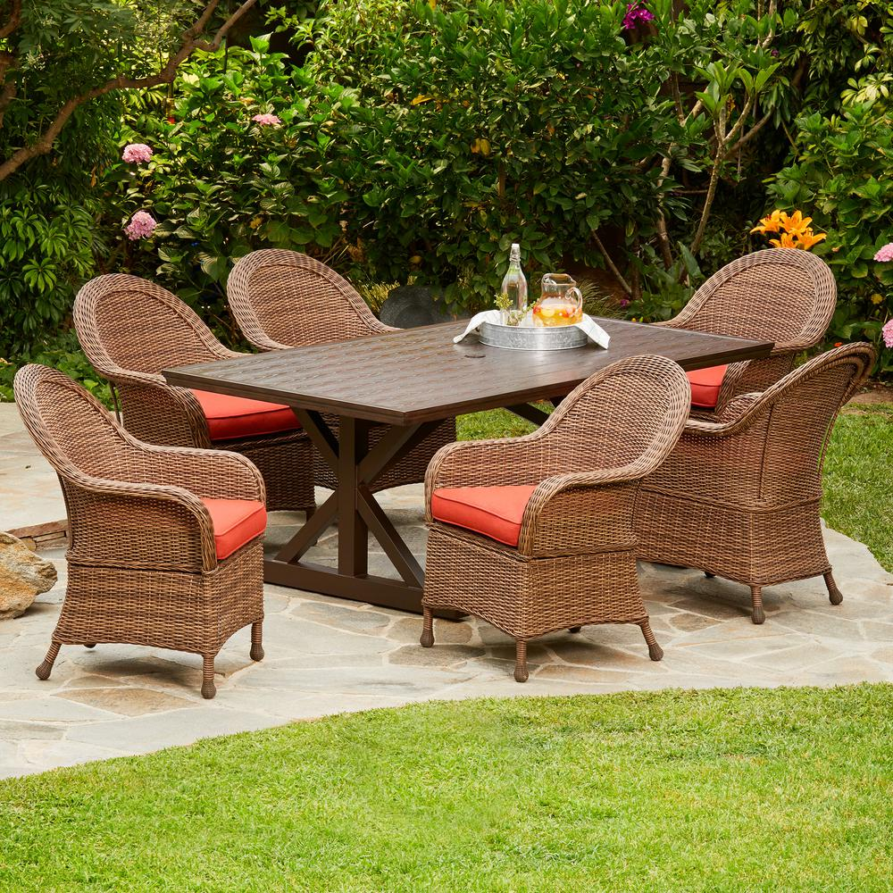 Hacienda Heights 7-Piece Wicker Outdoor Dining Set with Red Cushions