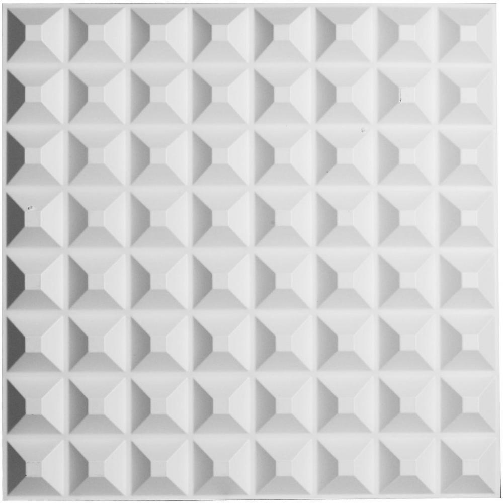 Ekena Millwork 5/8 in. x 19-5/8 in. x 19-5/8 in. PVC White Bradford EnduraWall Decorative 3D Wall Panel