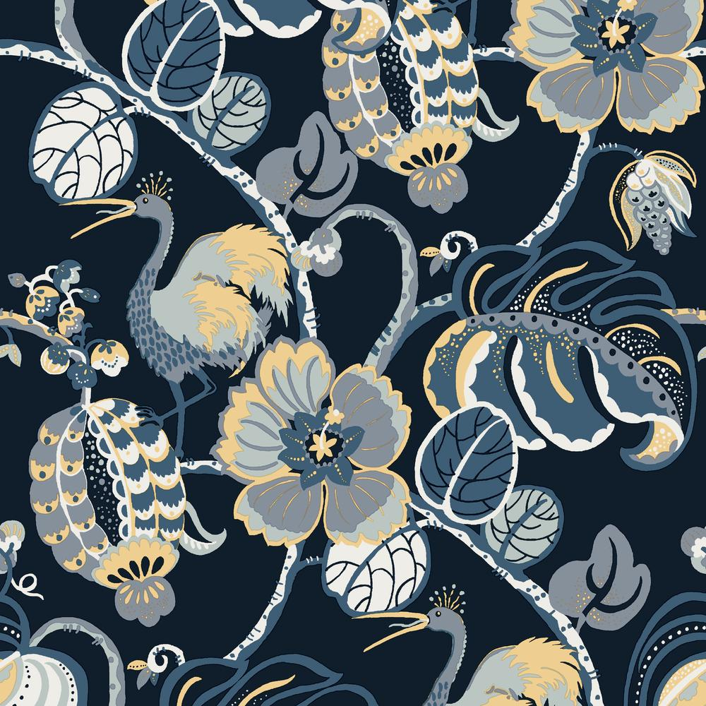 Genevieve Gorder Tropical Fete Azure Blue Self Adhesive Removable Wallpaper