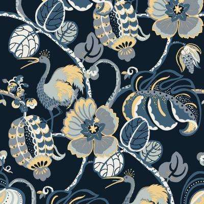 Genevieve Gorder Tropical Fete Azure Blue Self-Adhesive Removable Wallpaper