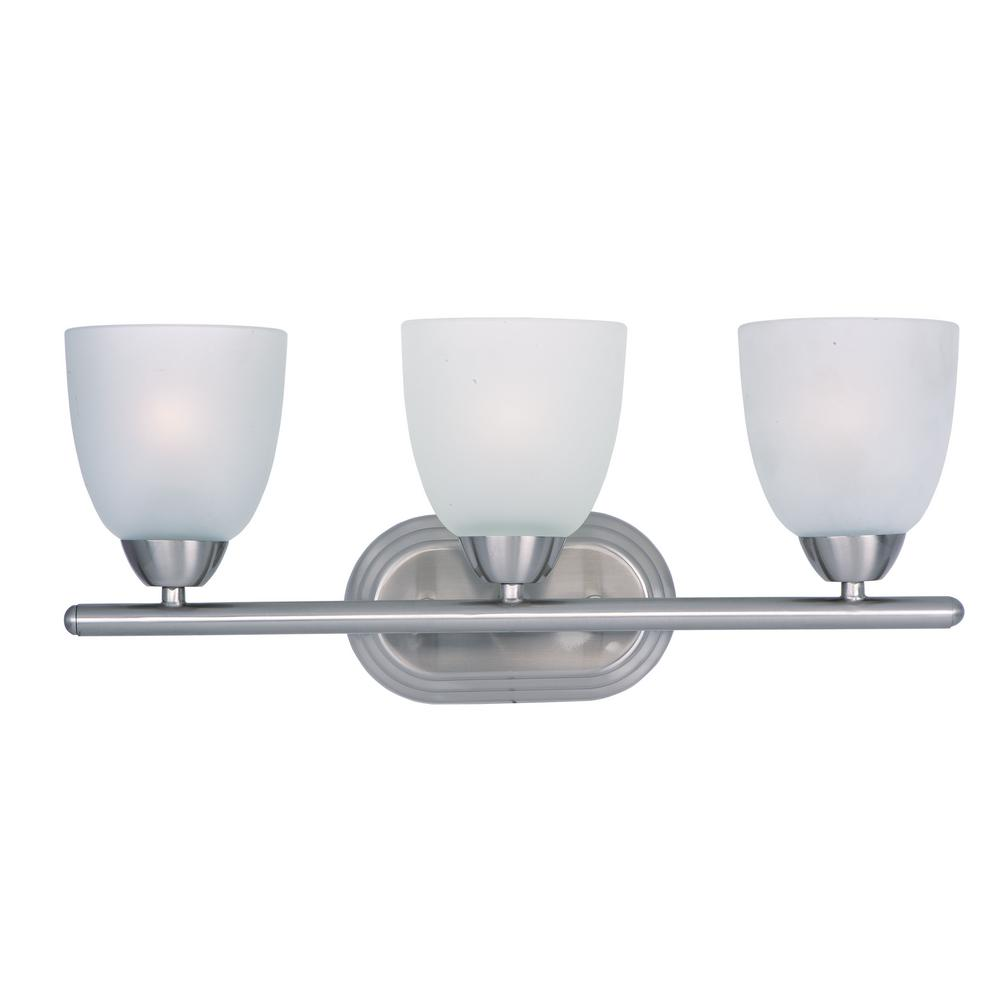 Bathroom Nickel Bathroom Lights Bathroom Lighting Chrome Finish Light Vanity Fixture Chrome: Maxim Lighting Axis 3-Light Satin Nickel Bath Light Vanity With Frosted Shade-11313FTSN