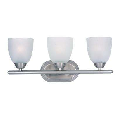 Axis 3-Light Satin Nickel Bath Light Vanity with Frosted Shade
