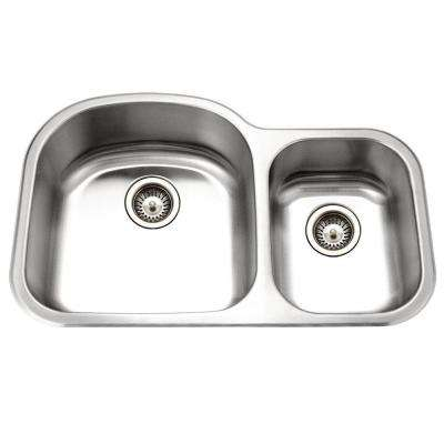 Medallion Designer Series Undermount Stainless Steel 33 in. 0-Hole Double Bowl Kitchen Sink Small Bowl Right