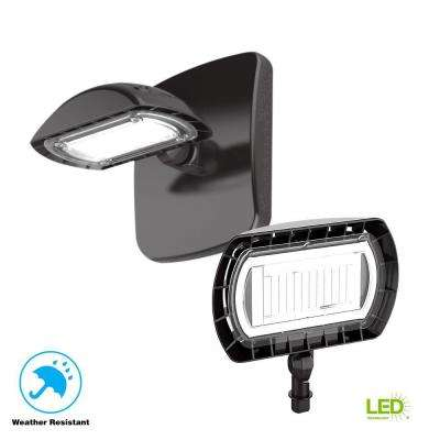 Bronze Outdoor Integrated LED Floodlight with Wall Pack Mount 1500 Lumens and DLC-Rating