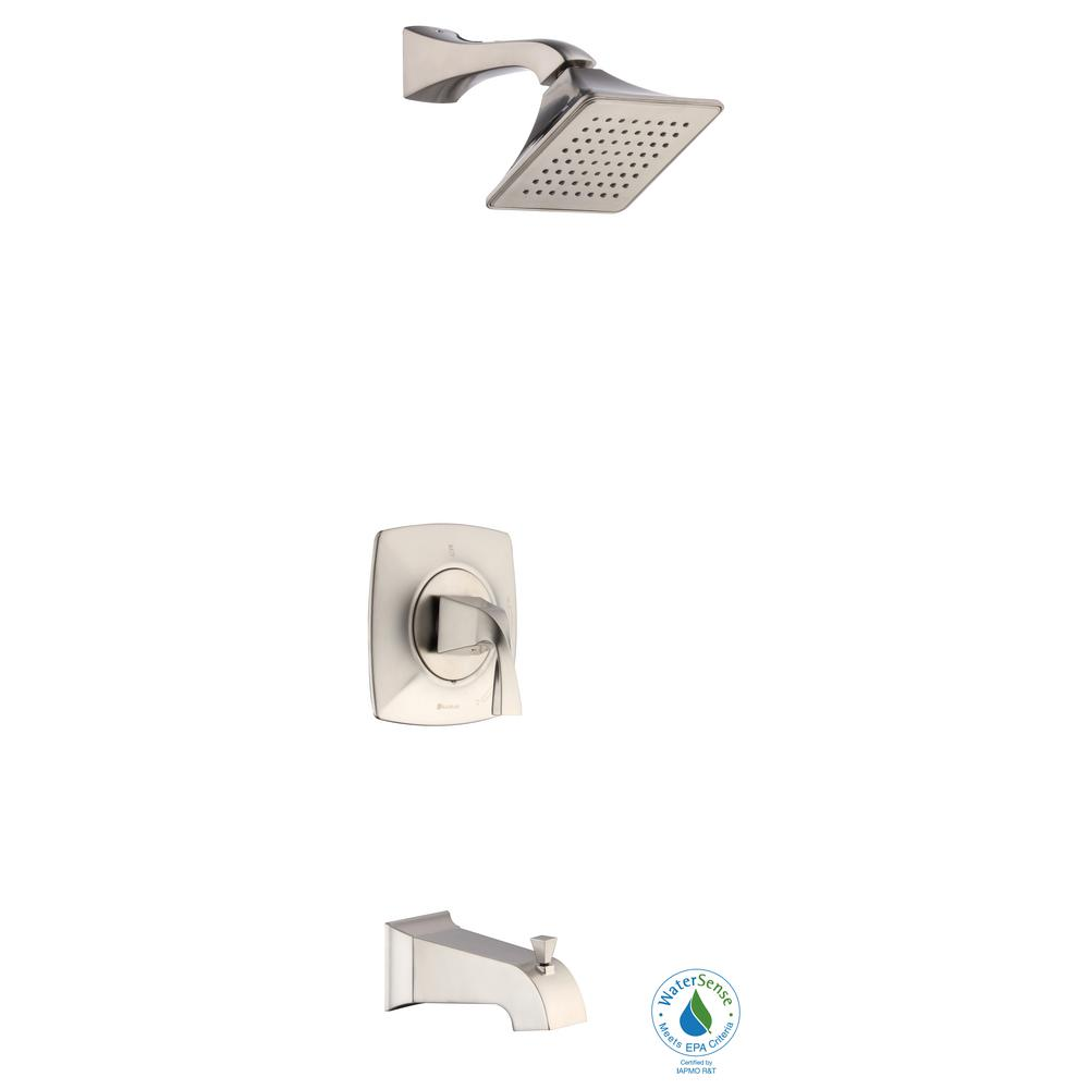 Glacier Bay Leary Curve Single-Handle 1-Spray Tub and Shower Faucet in Brushed Nickel (Valve Included)