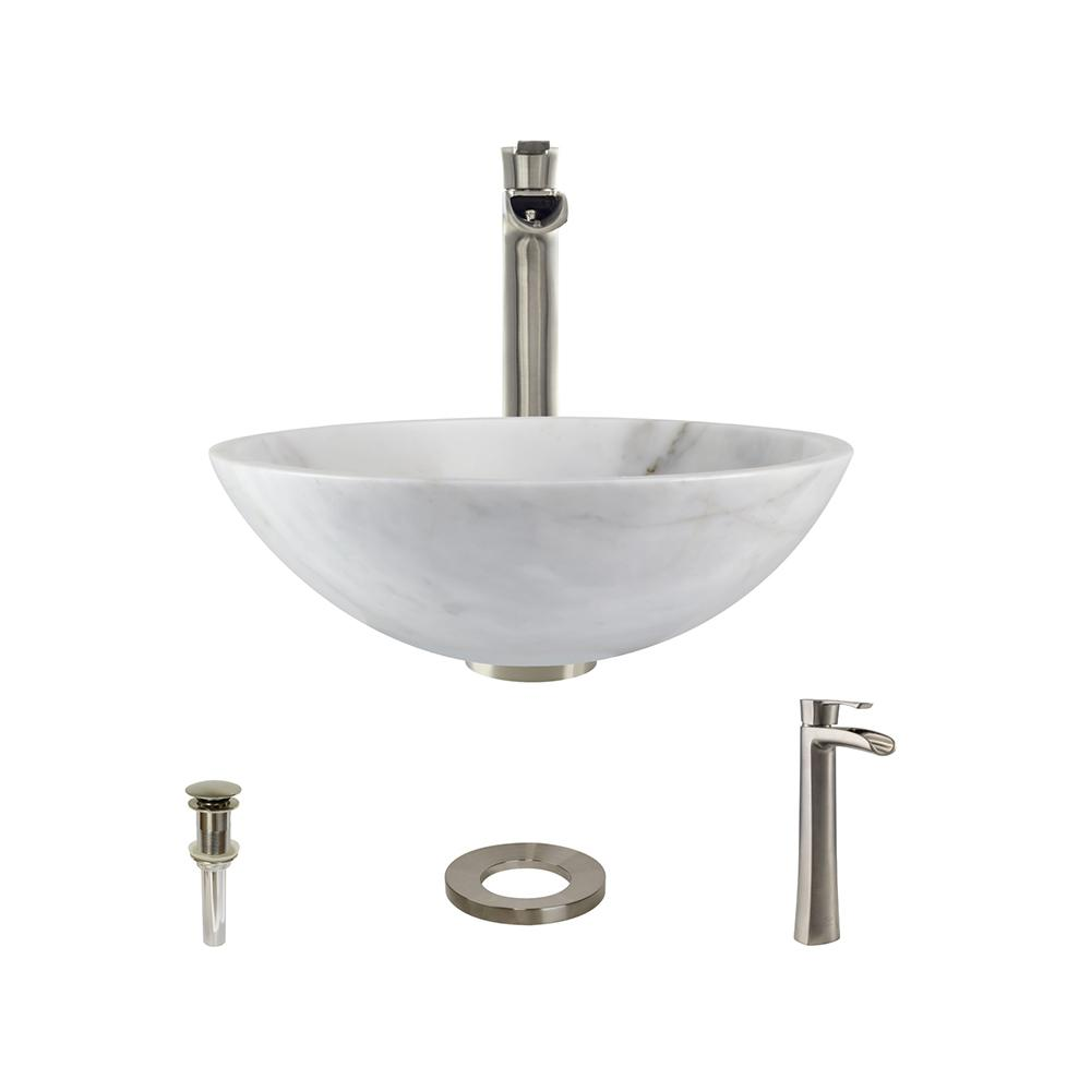 MR Direct Stone Vessel Sink In Honed Basalt White Granite With 731 Faucet  And Pop