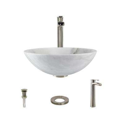 Stone Vessel Sink in Honed Basalt White Granite with 731 Faucet and Pop-Up Drain in Brushed Nickel