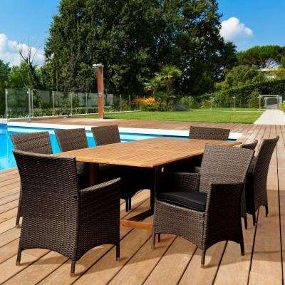 Alridge 9-Piece Teak Extendable Rectangular Patio Dining Set with Grey Cushions
