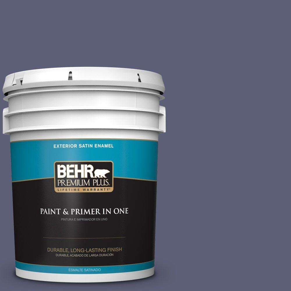 BEHR Premium Plus 5-gal. #S560-6 Blue Blood Satin Enamel Exterior Paint