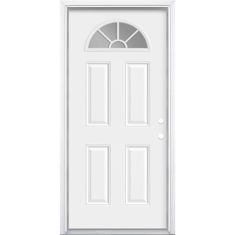 36 in. x 80 in. Premium Fan Lite Left Hand Inswing Primed Steel Prehung Front Exterior Door with Brickmold