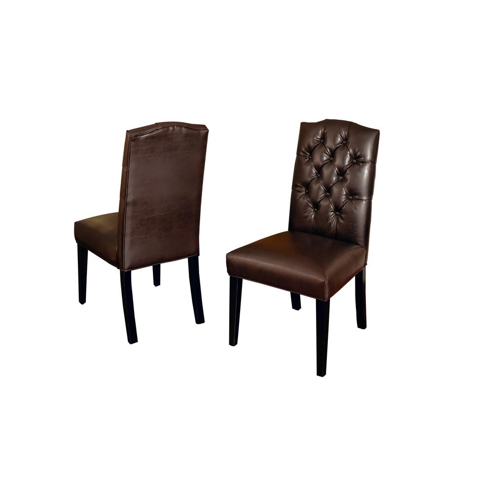 Noble House Crown Brown Leather Tufted Dining Chair Set Of 2