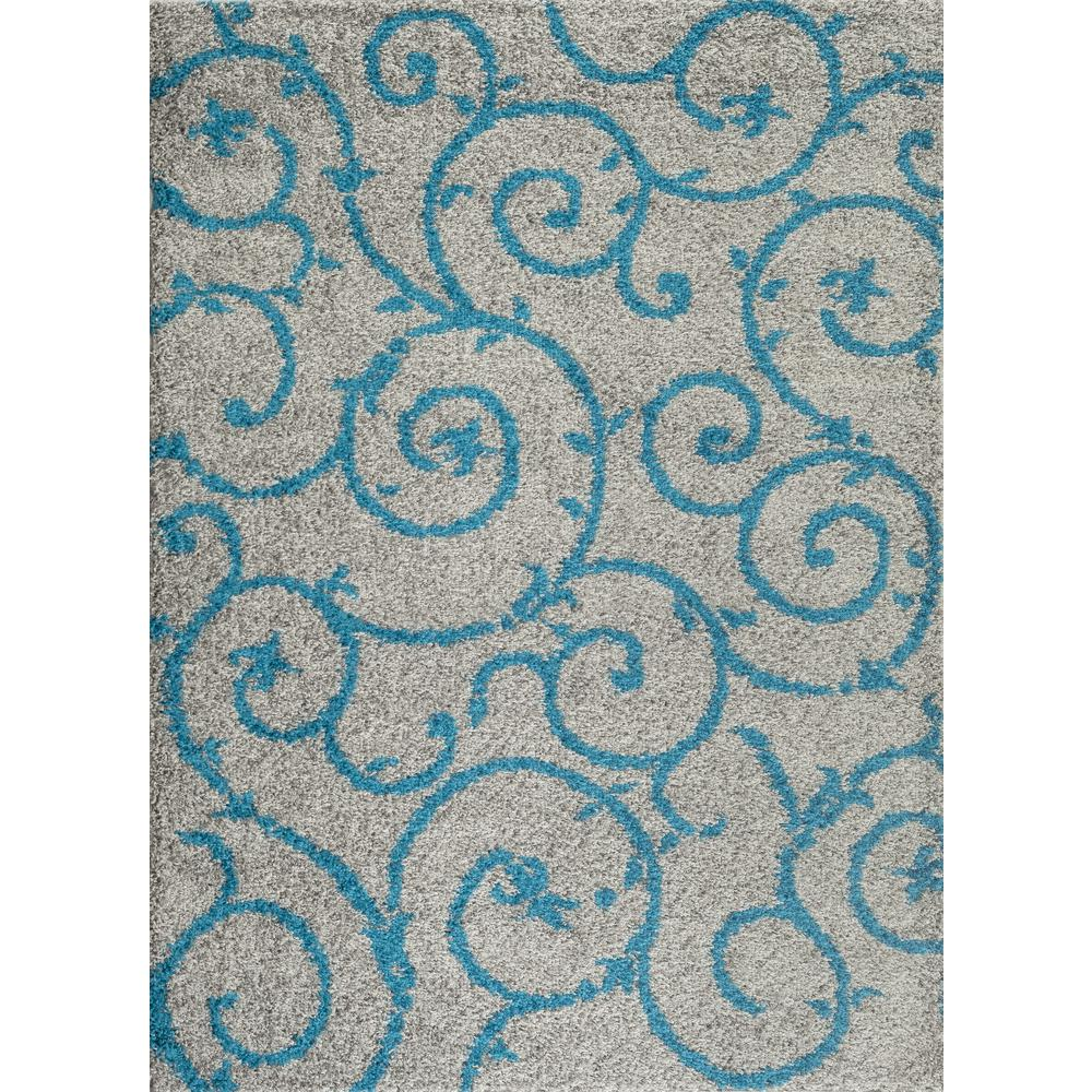 Soft Cozy Contemporary Scroll Turquoise Gray 9'x12' Indoor Shag Area Rug