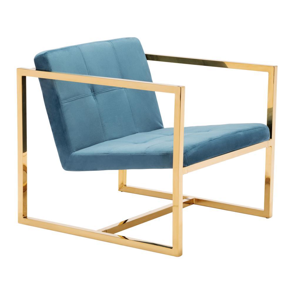 Alt Blue Velvet Arm Chair