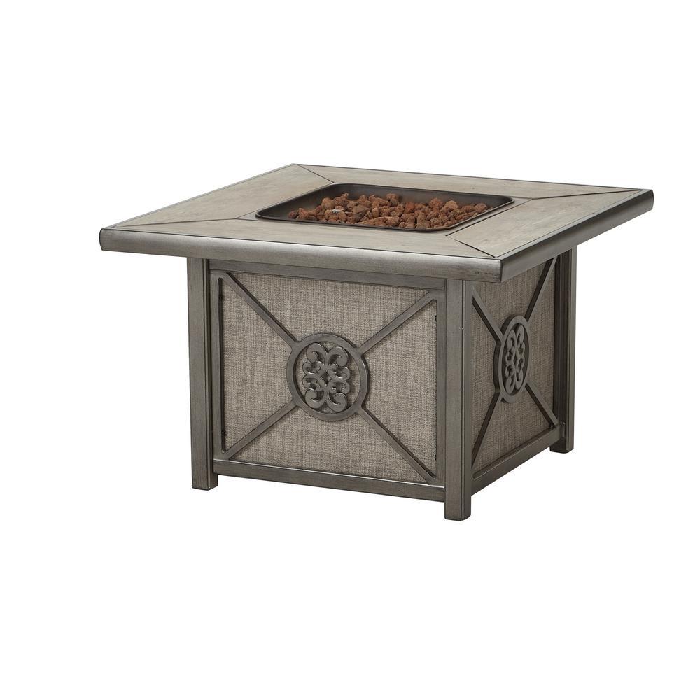 Home Decorators Collection Wilshire Estates  1-Piece Aluminum Tile Top Outdoor Gas Firepit with Sunbrella Sling  Fabric