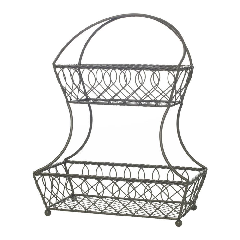 gourmet basics by mikasa loop and lattice 2-tier flat-back basket-5216830