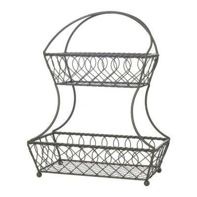 Loop and Lattice 2-Tier Flat-Back Basket