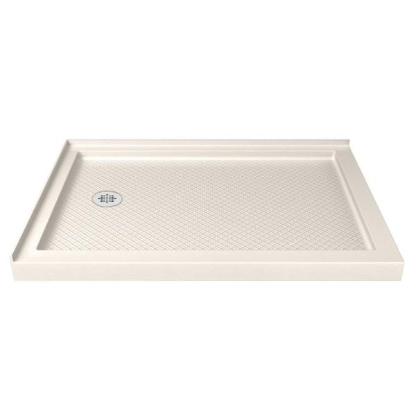 SlimLine 36 in. D x 54 in. W Double Threshold Shower Base in Biscuit, Left Drain