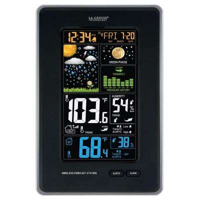 Digital Vertical Wireless Black Weather Station with Pressure