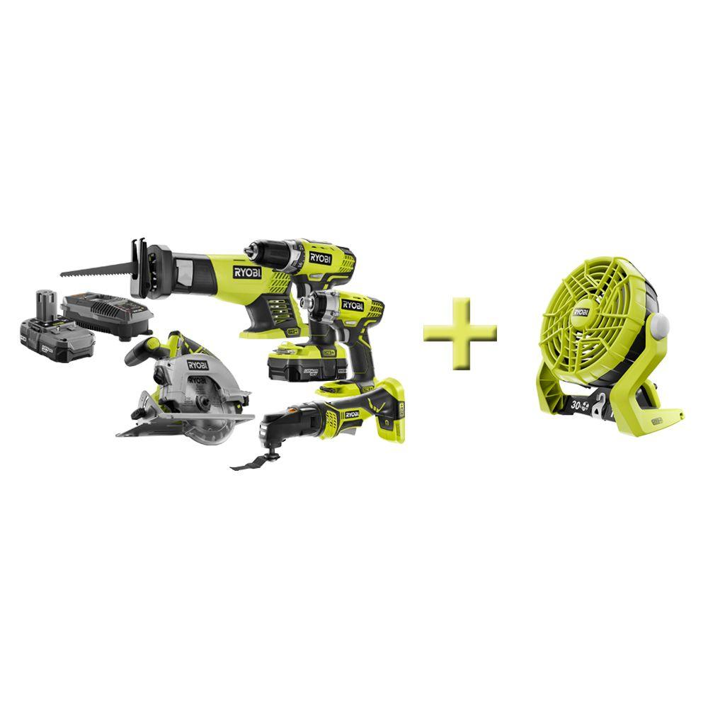 Ryobi One+ 18-Volt Lithium-Ion Combo Kit (5-Tool) with Free Fan