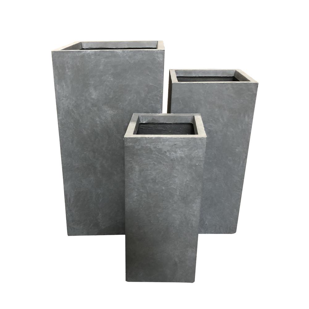 KANTE 28 in. Tall Slate Gray Lightweight Concrete Rectangle Modern Tapered Outdoor Planter (Set of 3)