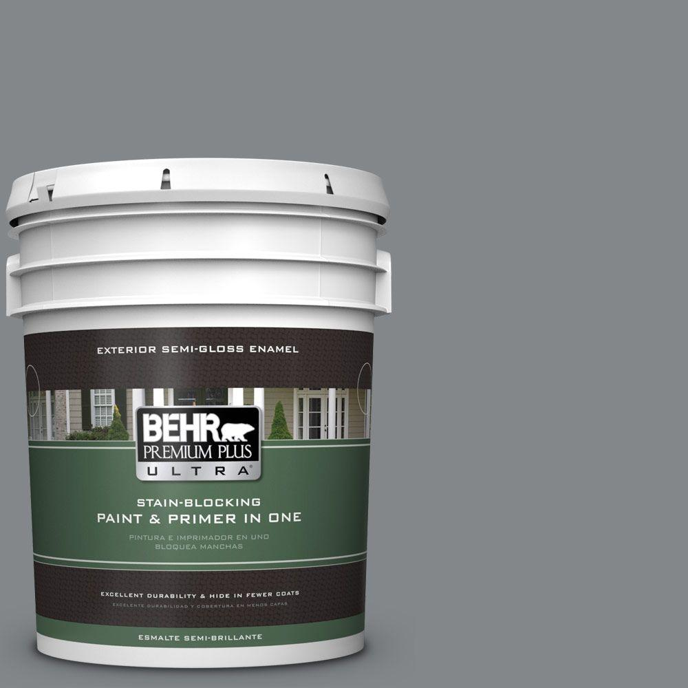 5 gal. #N500-5 Magnetic Gray Color Semi-Gloss Enamel Exterior Paint