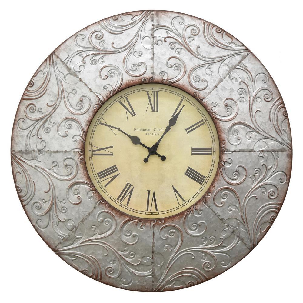24 in. x 2 in. Metal Wall Clock in Gray