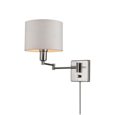 Bernard 8 in. Brushed Steel Plug-In or Hardwire Wall Sconce